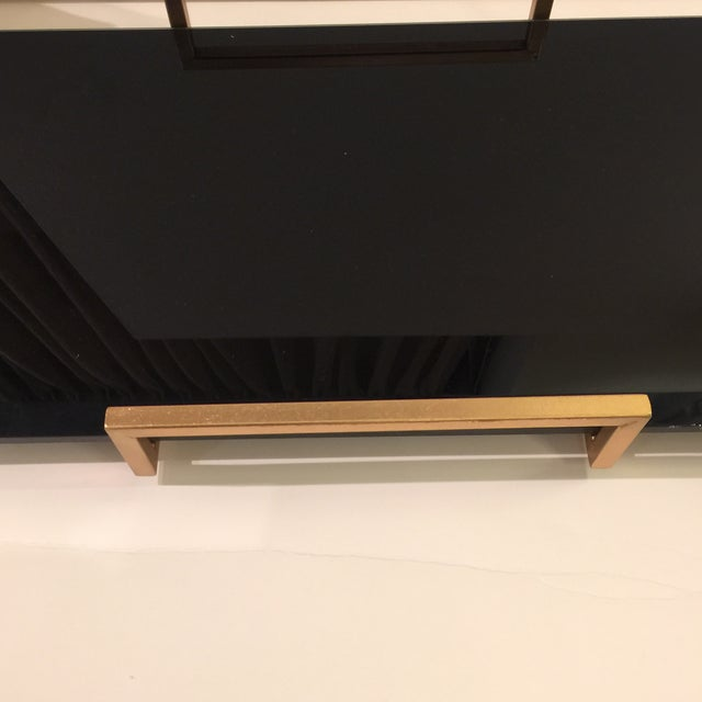Gold Metal Handled Black Beveled Glass Tray - Image 3 of 8