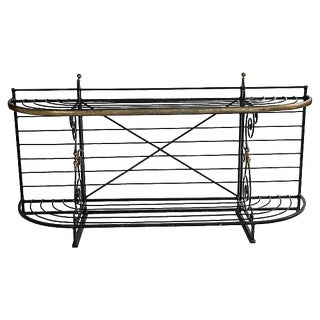 1970s French Wrought Iron & Brass Baker's Rack For Sale