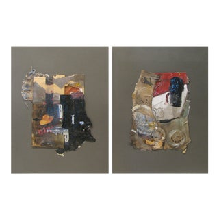 Pair of European Abstract Collages For Sale