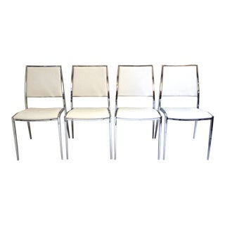 Contemporary White Chromed Stainless Dining Chairs-Set of 4 For Sale