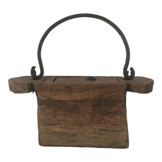 Vintage Asian Wood Decorative Box Caste Iron Handle For Sale