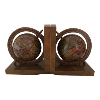Old World Italian Spinning Globe Bookends - a Pair For Sale