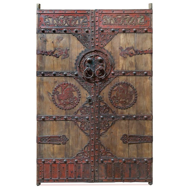 1970s Vintage Chinese Wooden Temple Doors With Iron Hardware For Sale - Image 5 of 5