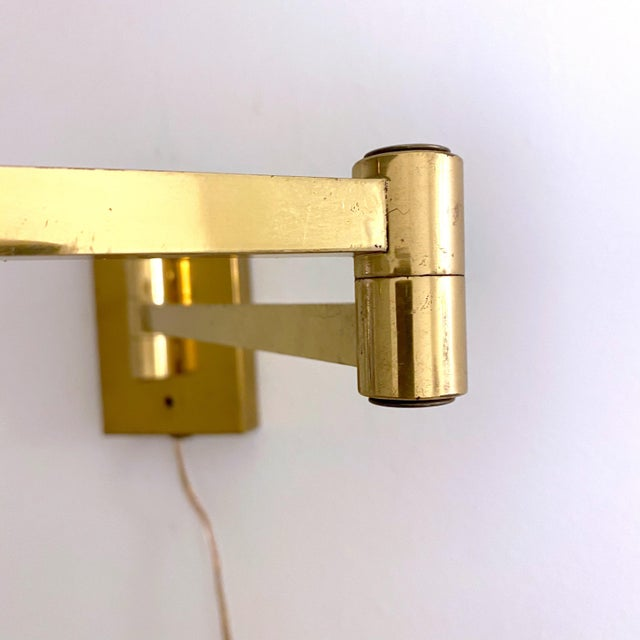 Vintage Double Swing Arm Brass Wall Lamps in the Manner of Hinson - a Pair For Sale - Image 10 of 13