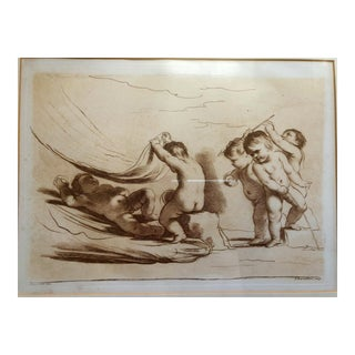 18th C. Etching of Putties Bathing