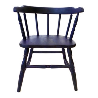Vintage Marine Blue Children's Chair For Sale