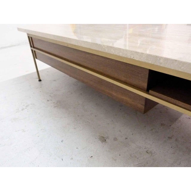 Paul McCobb For Calvin Mahogany, Brass & Travertine Coffee Table - Image 10 of 11