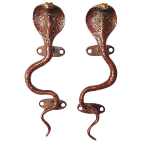 Red Brass Cobra Door Handles - A Pair - Image 1 of 3