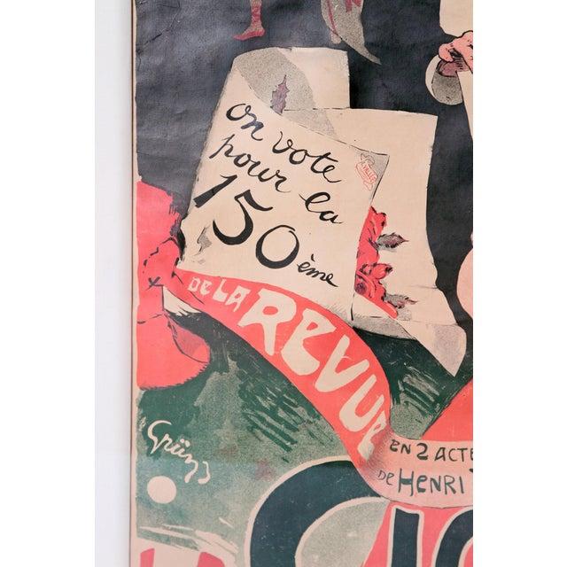 """Art Nouveau Large Framed Poster """"La Cigale/Pour Qui Votait-on? by Jules Alexandre Grun For Sale - Image 3 of 8"""