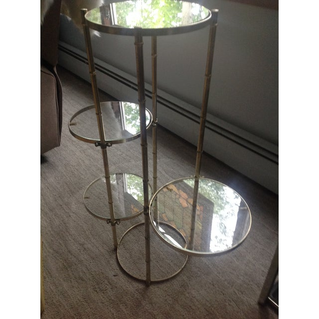 Asian Mid Century Faux Brass Bamboo Shelf Plant Stand For Sale - Image 3 of 9
