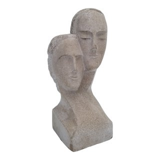 """1960s Vintage """"His and Hers """" Carved Stone Bust Sculpture For Sale"""