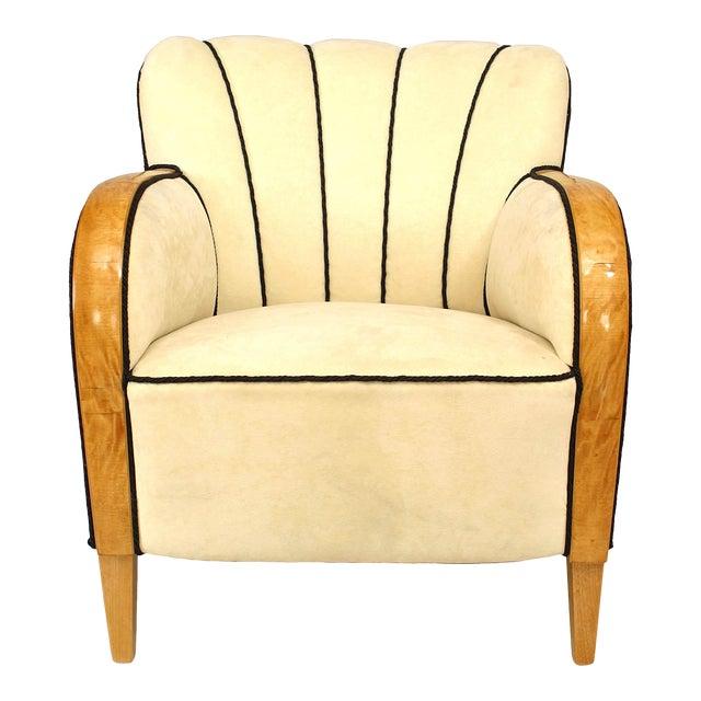Swedish Biedermeier Maple Club Chair For Sale