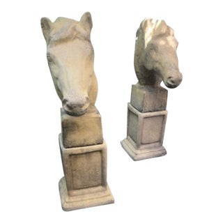 Antique Style Horse Pier Heads - A Pair For Sale