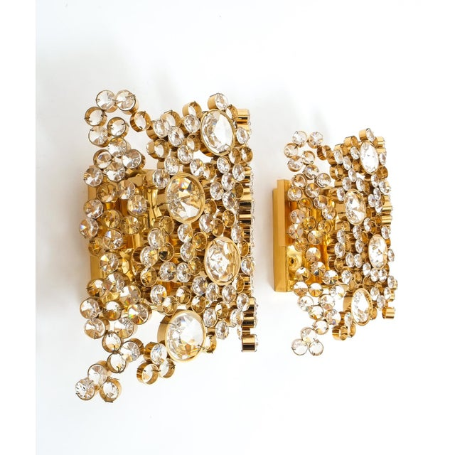 Palwa Pair of Gilt Brass and Crystal Glass Encrusted Sconces by Palwa For Sale - Image 4 of 5