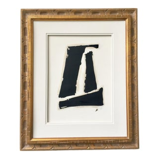 Black and White Abstract Painting #1 Gold Vintage Frame For Sale