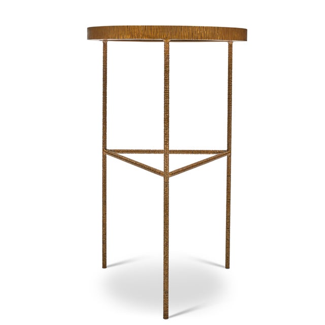 Sophia End Table, White, Antique Brass For Sale - Image 4 of 6
