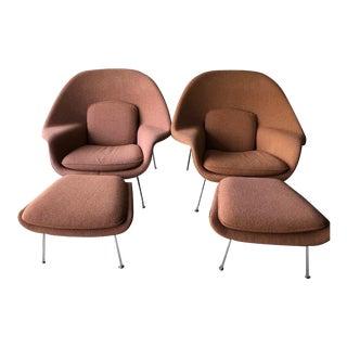 Eero Saarinen Womb Chairs & Ottomans - A Pair