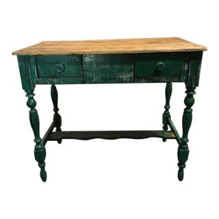 19th Century Rustic Painted Trestle Table For Sale