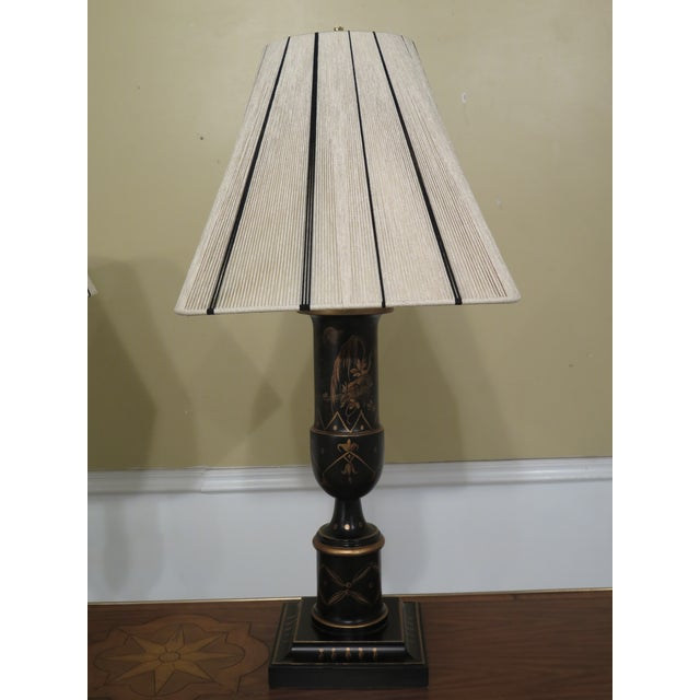 Pair Chinoiserie Decorated Table Lamps w. Shades Age: Approx: 20 Years Old Details: Nice Chinoiserie Decorated Finish...