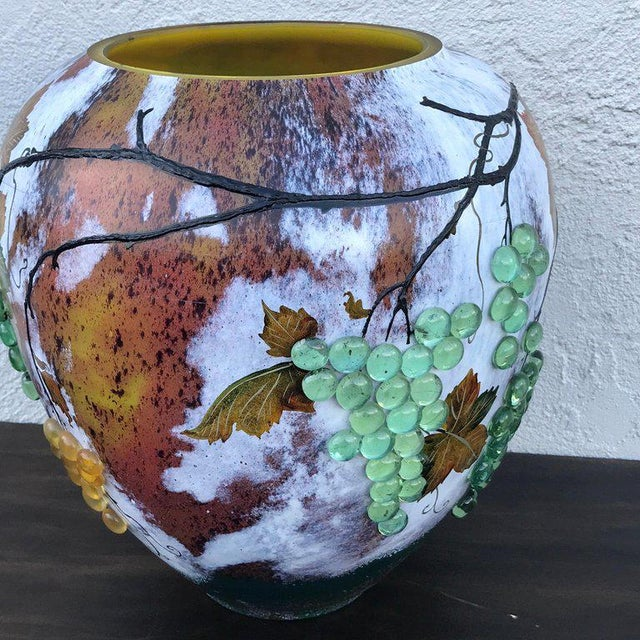 Blue Large Art Glass Vase With Applied Grapes, After Daum Nancy For Sale - Image 8 of 13