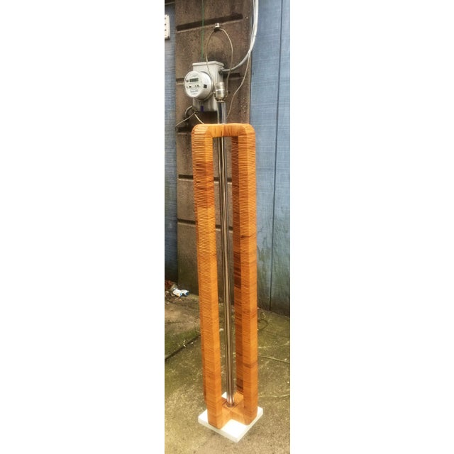 Vintage Rattan Wrapped Chrome & Metal Floor Lamp For Sale - Image 4 of 10