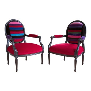 Pair of Antique French Louis XVI Style Ebonized Fauteuils For Sale