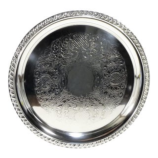 Round Silverplate Serving Tray With Rope Twist Banding For Sale