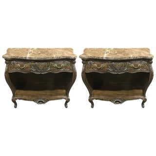 French Style Bombe Marble-Top Desserte / Servers - a Pair
