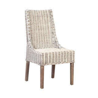 Woven White Wash Dining Chair For Sale