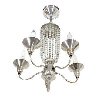 Art Deco Beaded Glass Chandelier For Sale