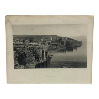 "Antique Original Engraving on Paper ""Sea of Tiberias"" by Frith Circa 1890 For Sale"