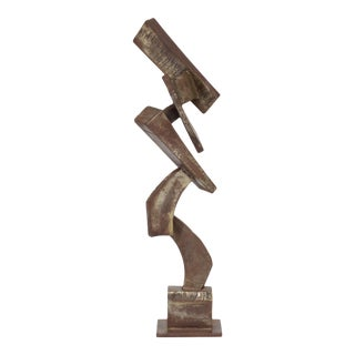 Vintage Mid-Century Brutalist Metal Sculpture by Peter Calaboyias For Sale
