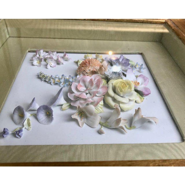 19th Century Bisque German Porcelain Floral Plaques in Shadow Boxes - a Pair For Sale - Image 4 of 12