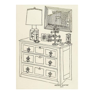 Interior Pen & Ink Drawing by Arthur Newton 1970 For Sale