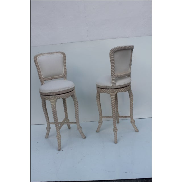 Italian Carved Rope & Tassel Bar Stools -- A Pair - Image 8 of 11