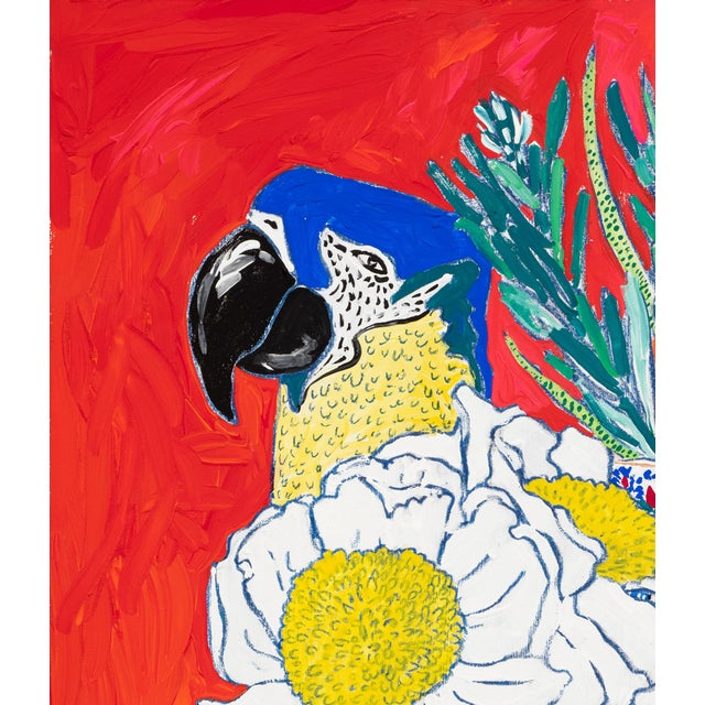 Modern Parrot Vase Floral Still Life With Giant Fried Egg Poppy Flowers on Orange Red Painting For Sale - Image 3 of 3