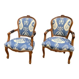 1950s Blue & White Ikat Side Chairs- a Pair For Sale