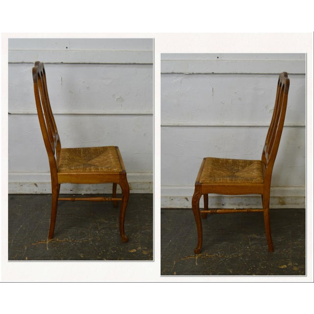 *STORE ITEM #: 18213-fw French Country Style Antique Set Oak Rush Seat Dining Chairs AGE / ORIGIN: Approx. 100 years,...