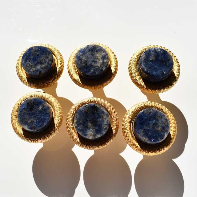 Sherle Wagner Sherle Wagner Semiprecious Round Blue Lapis Lazuli Cabinet Pulls- Set of 6 For Sale - Image 4 of 6