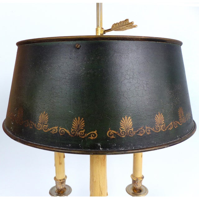 Offered for sale is a French 19th century silvered bronze bouillotte lamp with a black stenciled tole shade. The base is a...