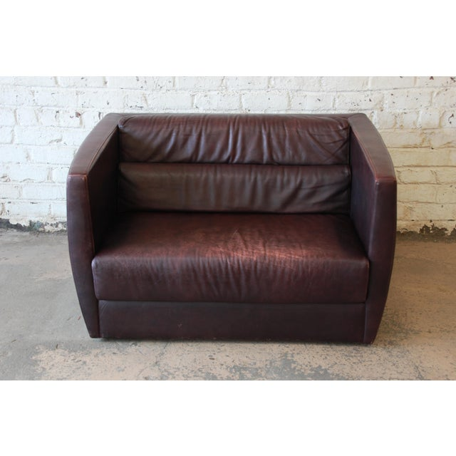 Bauhaus Roche Bobois Bauhaus Style Leather Loveseat or Cube Chair, 1970s For Sale - Image 3 of 12
