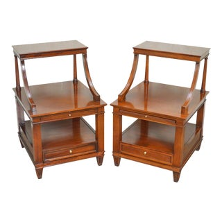 Hickory Chair Co. Mahogany 3 Tier Nightstands - A Pair