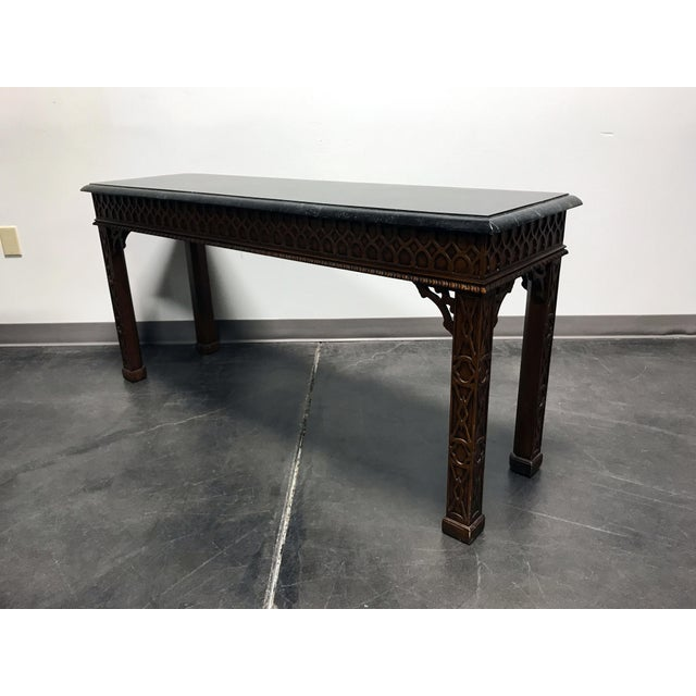 Vintage Carved Mahogany & Tessellated Marble Sofa Table attr to Maitland Smith - Image 4 of 11