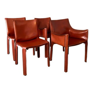 1980s VintageMario Bellini for Cassina Cab Dining Chairs- Set of 4 For Sale