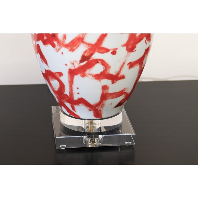 Red Graphic Pair of Large-Scale Ceramic Vessels as Custom Lamps For Sale - Image 8 of 11
