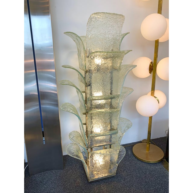 Cactus floor lamp Model LT 320 by Carlo Nason for the manufacture Mazzega Murano. Opalescent glass slightly blue. Famous...