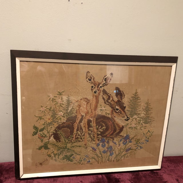 Vintage Deer With Fawn Cross Stitch Framed Textile Art For Sale - Image 12 of 12