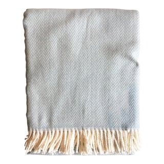 Fringed Sky Blue Herringbone Throw Blanket For Sale