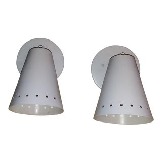 1960s Mid Century Modern White Steel Wall Sconces - a Pair