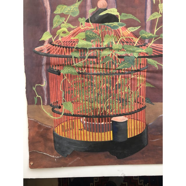 Modern Mystical Birdcage Painting on Paper 1960s For Sale - Image 3 of 12